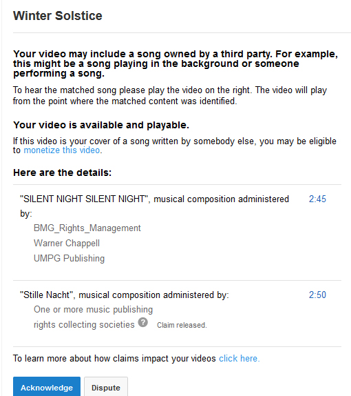 Multiple copyright claims on a public domain song.